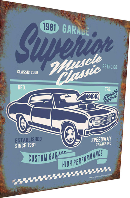 Muscle Car Sign Classic Supercharger 1981 Rusty Look Parking Sign