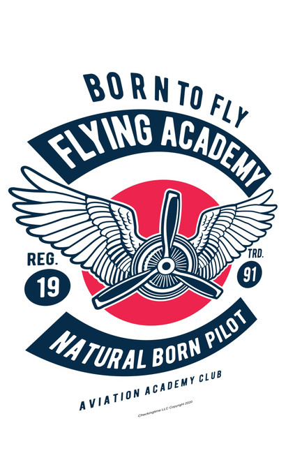 Aviation Sign Born To Fly Academy White Parking Sign