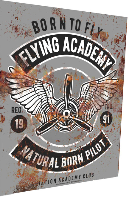 Aviation Sign Born To Fly Academy Rusty Look Parking Sign