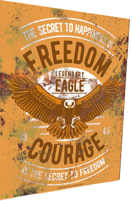 Freedom and Courage Sign Rusty Look Parking Sign