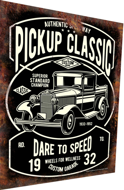Classic Pickup Truck Sign 1932 Rusty Look Parking Sign