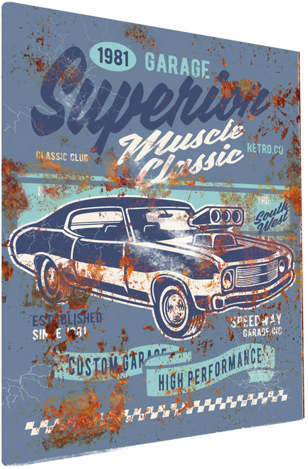 Classic Muscle Car 1981 Rusty Look Parking Sign