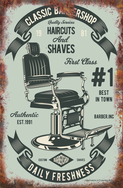Classic Barber Shop Chair Rusty Look Parking Sign