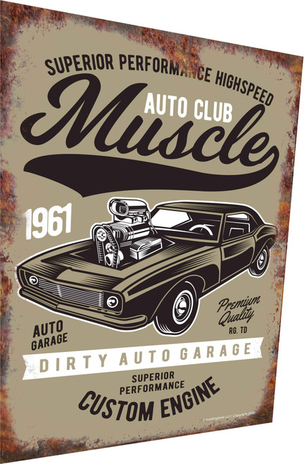Auto Club Muscle Car 1961 Rusty Look Parking Sign
