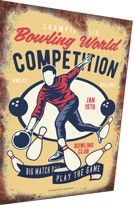 Bowling World Competition Rusty Look Parking Sign