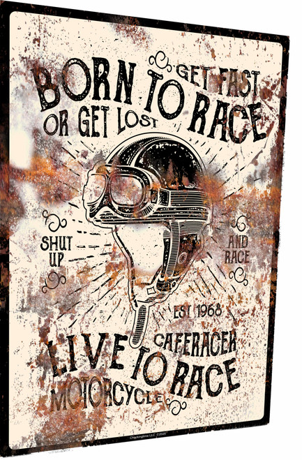 Born To Race Motorcycles Rusty Look Parking Sign