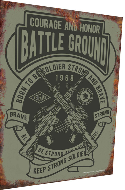 Battle Ground Military Green Rusty Look Parking Sign