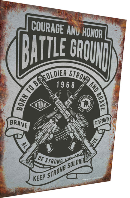 Battle Ground Military Rusty Look Parking Sign