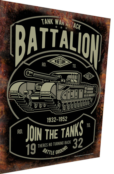 Tank Attack Battalion Rusty Look Parking Sign