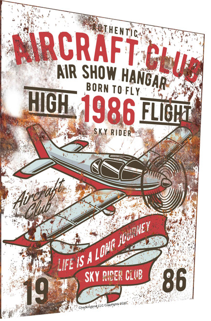 Airplane Sign Airplane Club 1986 Rusty Look Parking Sign