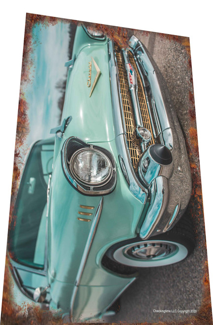 1957 Chevy Car Rusty Look Parking Sign