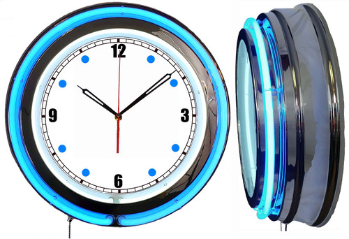 Neon Wall Clock - Basic Dial with a Blue Neon outside tube, white inside 1