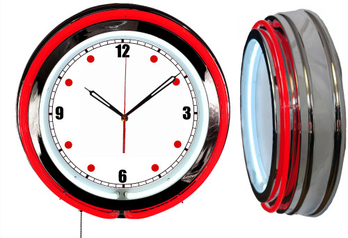 Neon Wall Clock - Basic Dial with a RED Neon outside tube, white inside 1