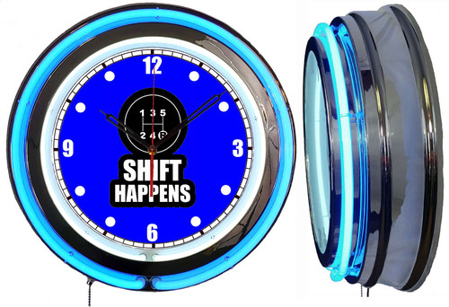 Neon Wall Clock - 5 Speed Shift Happens with a Blue Neon outside tube | Vintage Style 1