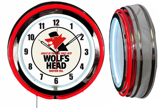 Wolfs Head Oil Sign, NEON Wall Clock RED Neon | Vintage Style