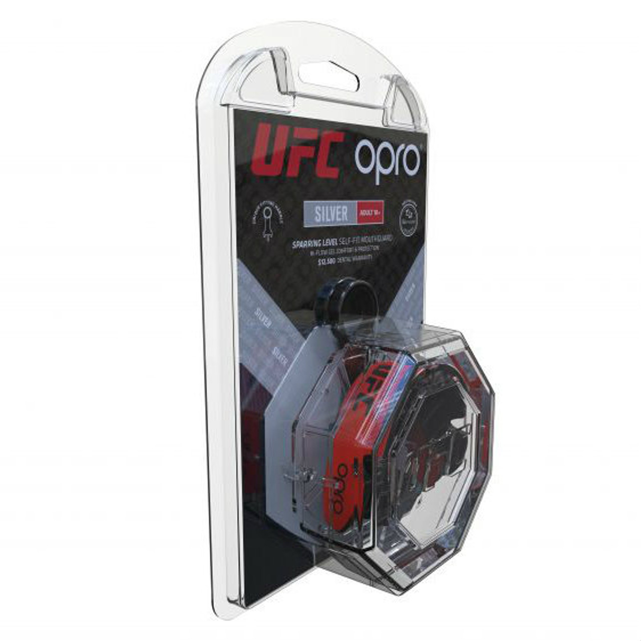 Opro UFC Silver Mouth Guard Black//Red