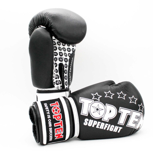 TOP TEN ITF Taekwon-Do Superfight Leather BLUE//White Open Hand LEATHER Gloves