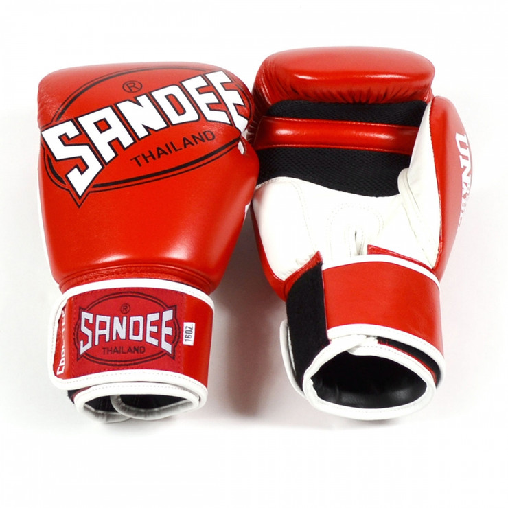 Sandee CoolTec Leather Boxing Gloves Red