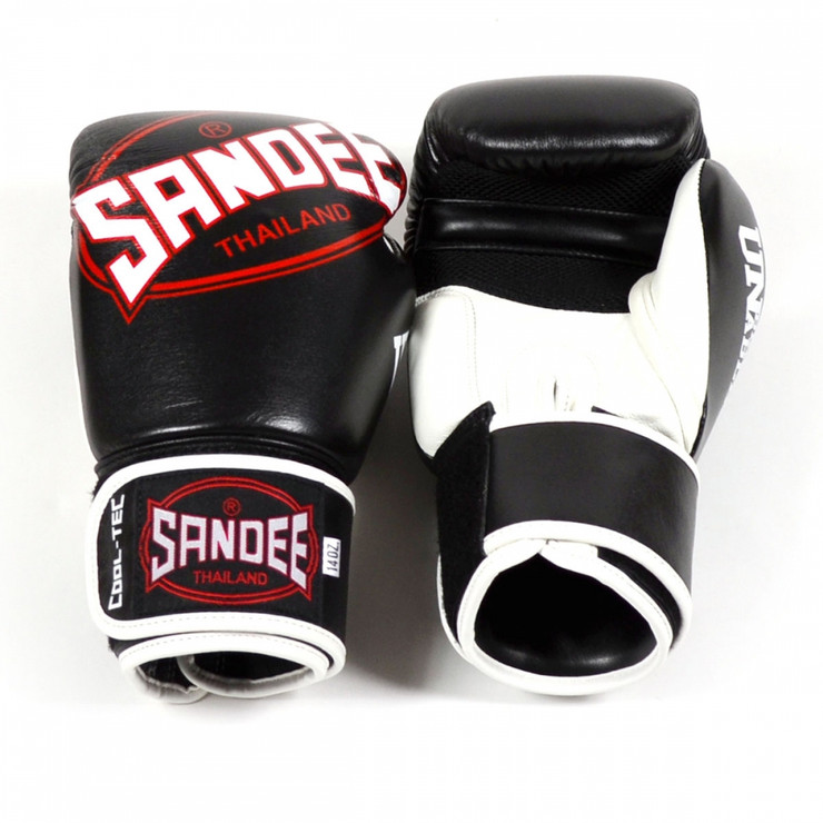 Sandee CoolTec Leather Boxing Gloves Black