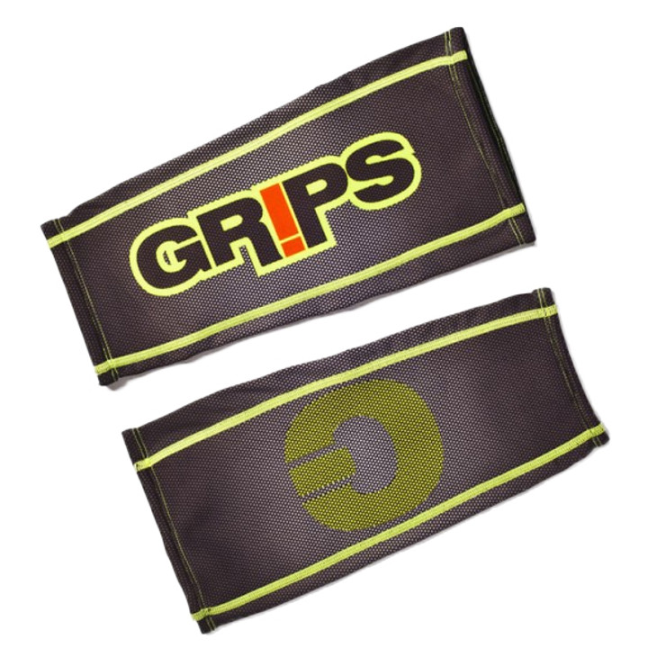 Grips Athletics Fluorescent Carbon Mens Calf Sleeves Black/Yellow