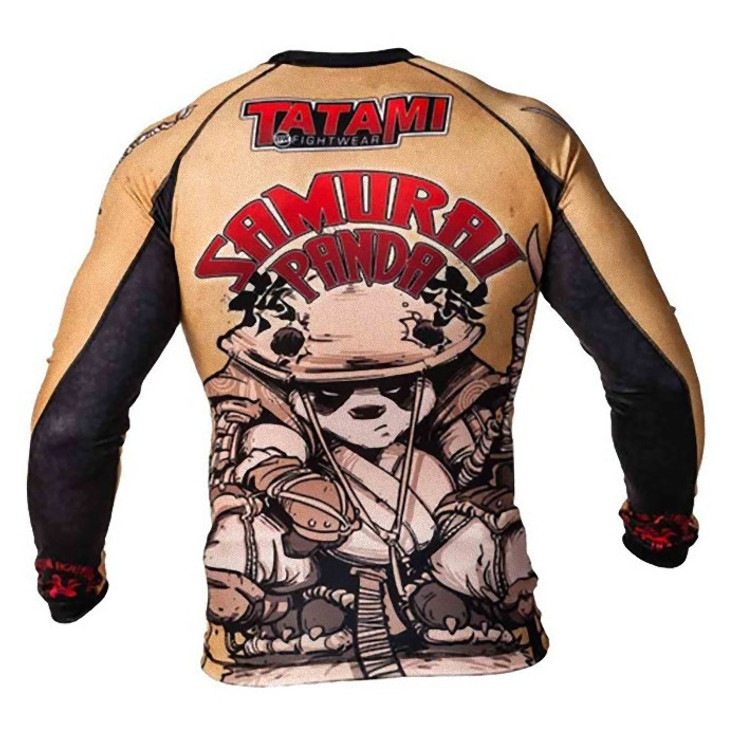 Tatami Fightwear Samurai Panda Long Sleeve Mens Rash Guard Brown