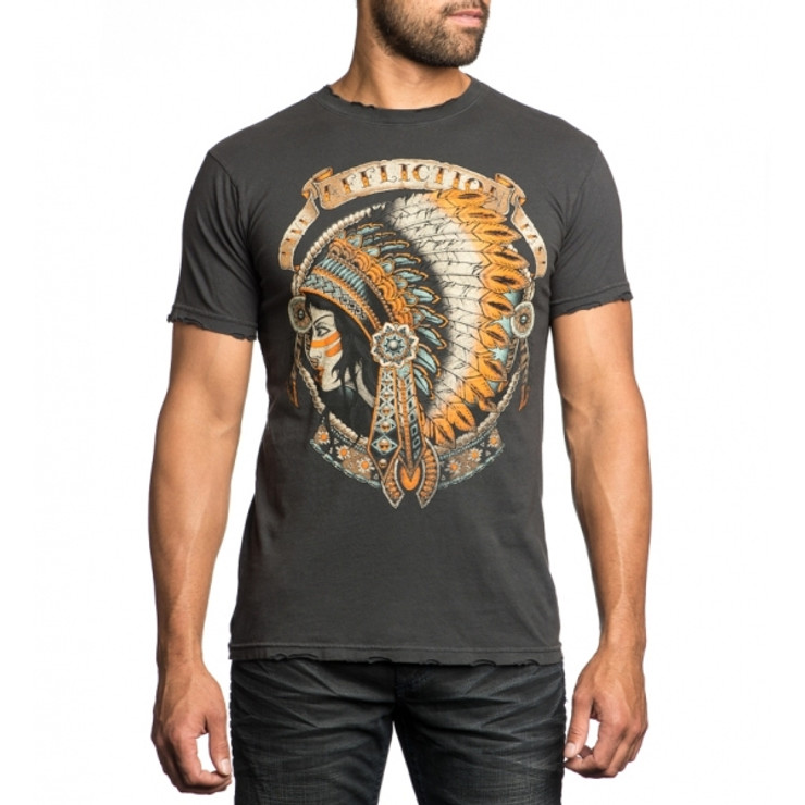 Affliction Heavy Feather Crewneck T-Shirt