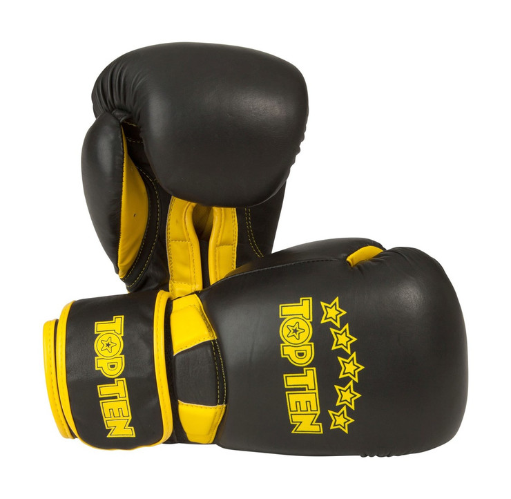 Top Ten Elite Dual Boxing Gloves Black/Yellow 10oz