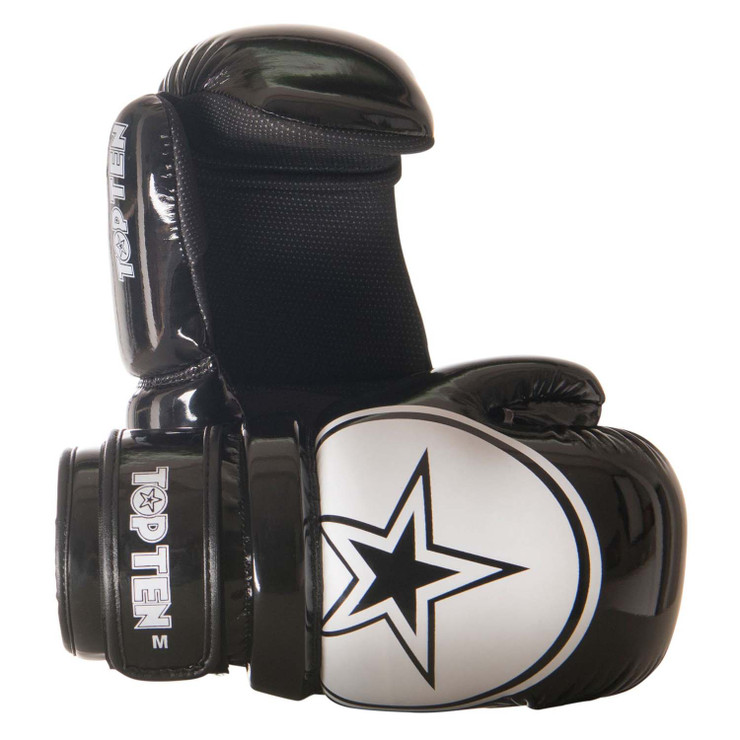 Top Ten Glossy Block Star Pointfighter Gloves  Black/White