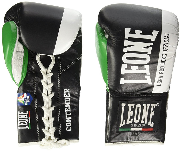 Leone 1947 Contender Lace Up Boxing Gloves 8oz Black