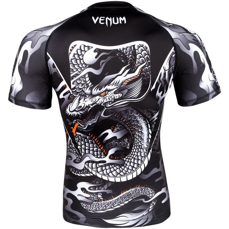 Venum Dragon's Flight Short Sleeve Rash Guard Black/White