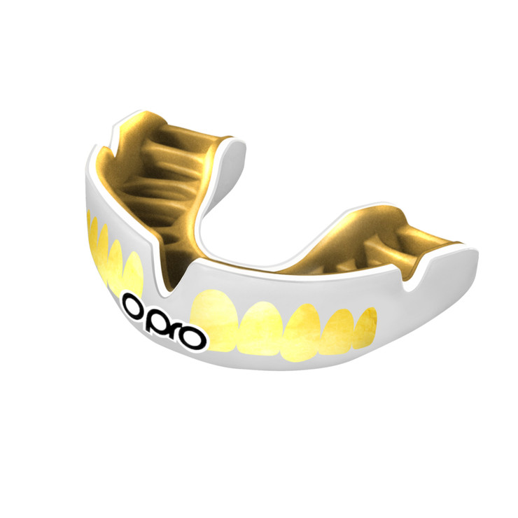 Opro Power Fit Bling Teeth Mouth Guard White/Gold