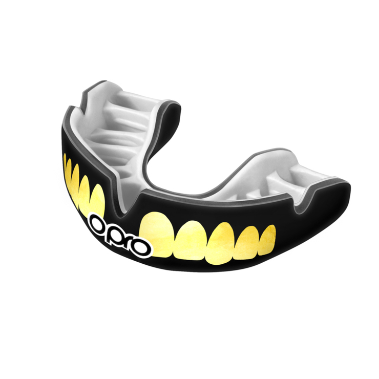 Opro Power Fit Bling Teeth Mouth Guard Black/White