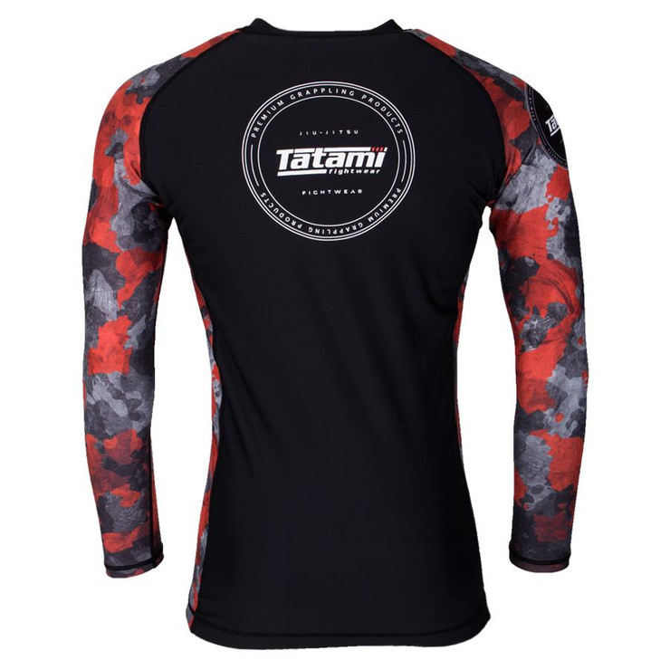 Tatami Fightwear Renegade Camo Long Sleeve Rash Guard Black/Red