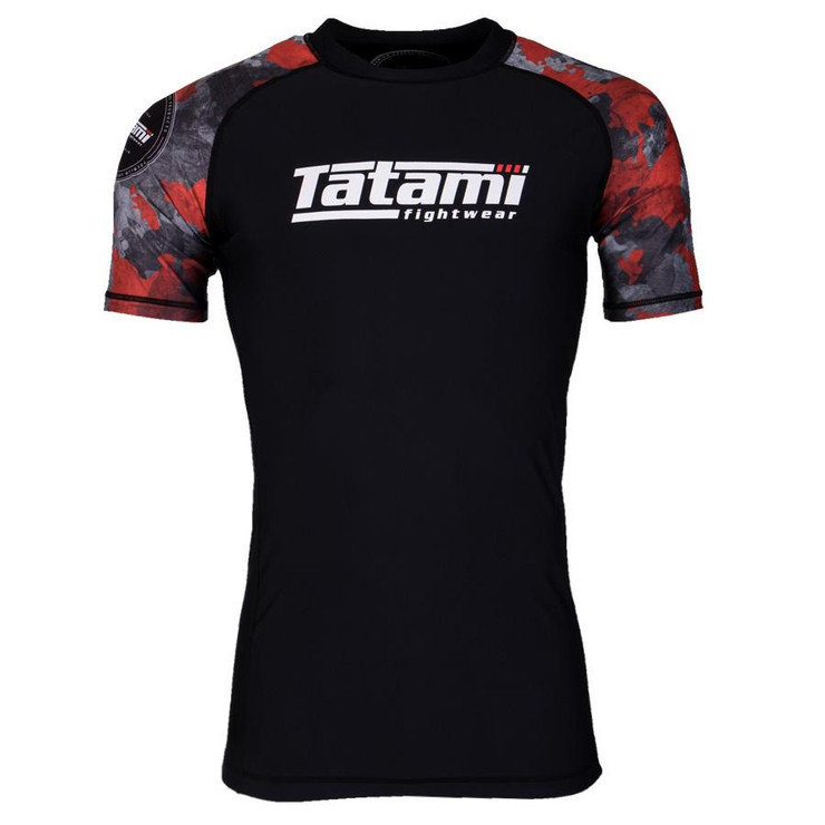 Tatami Fightwear Renegade Camo Short Sleeve Rash Guard Black/Red
