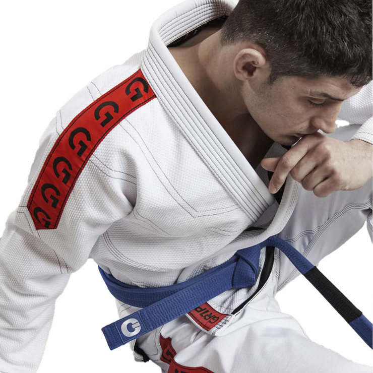 Gr1ps Classic BJJ Gi White/Red