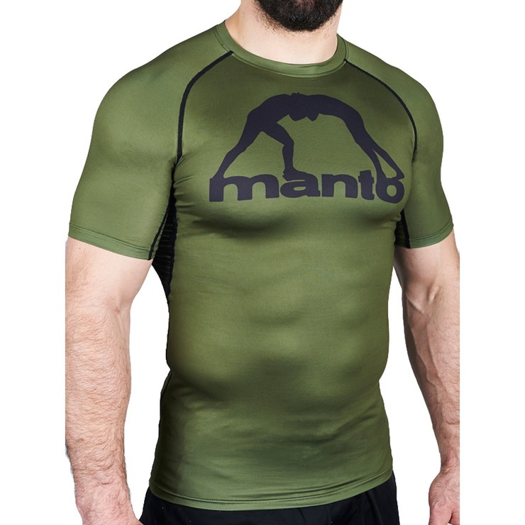 Manto Logo Short Sleeve Rash Guard Olive Green
