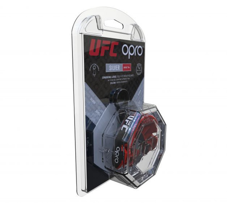 Opro UFC Silver Mouth Guard Black/Red