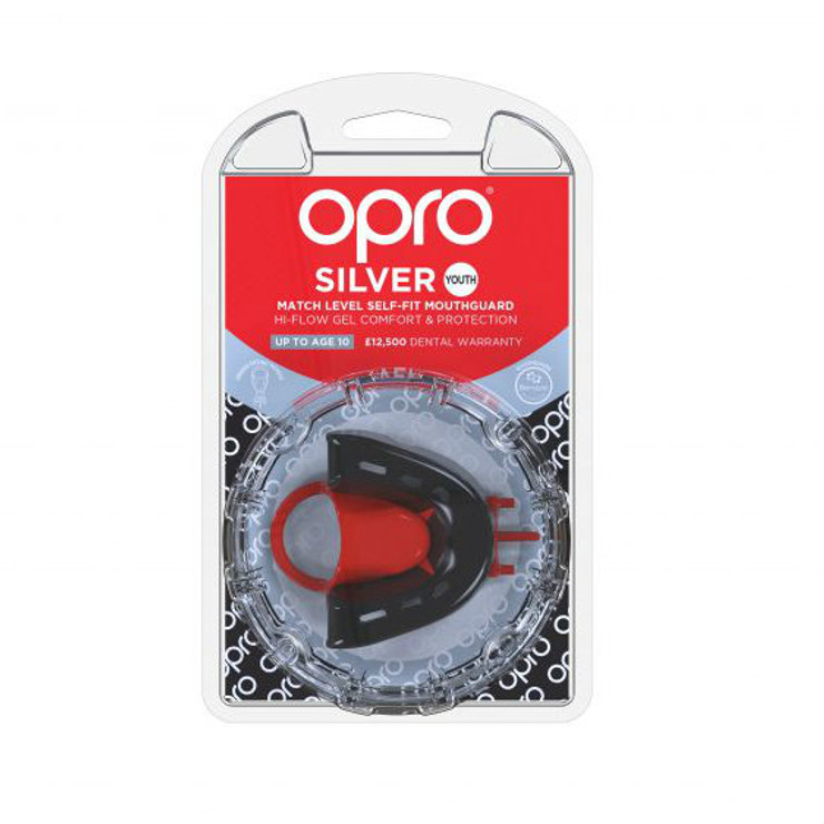 Opro Junior Silver Gen 4 Mouth Guard Black/Red