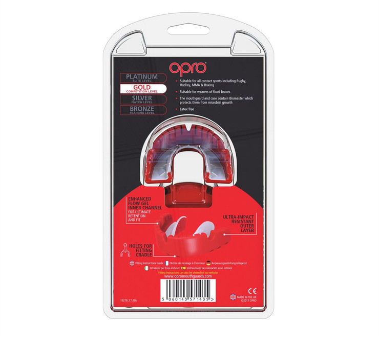 Opro Gold Braces Gen 4 Mouth Guard Red/Pearl