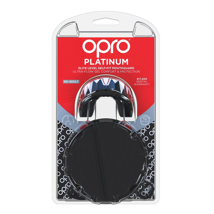Opro Platinum Fangz Gen 4 Mouth Guard Black/Red/White