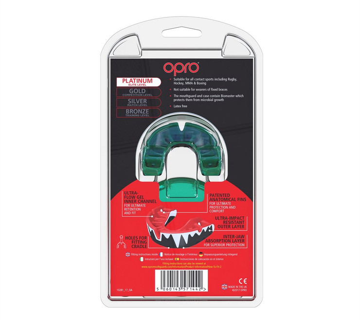 Opro Platinum Fangz Gen 4 Mouth Guard White/Mint/Black