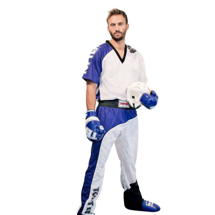 Top Ten Bow Kickboxing Uniform White/Blue/Black