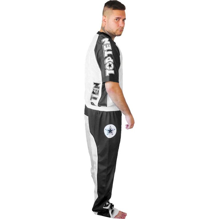 Top Ten Bow Kickboxing Uniform White/Black/Grey