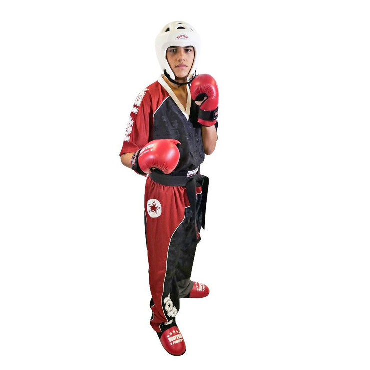 Top Ten Bow Kickboxing Uniform Black/Red/White