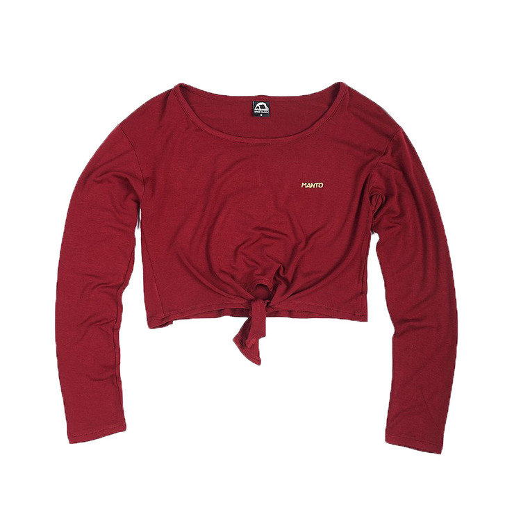 Manto Ladies Flash Long Sleeve Crop Top Maroon
