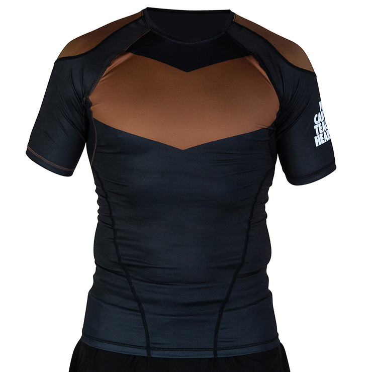 Hyperfly ProComp Supreme Short Sleeve Rash Guard Black/Brown