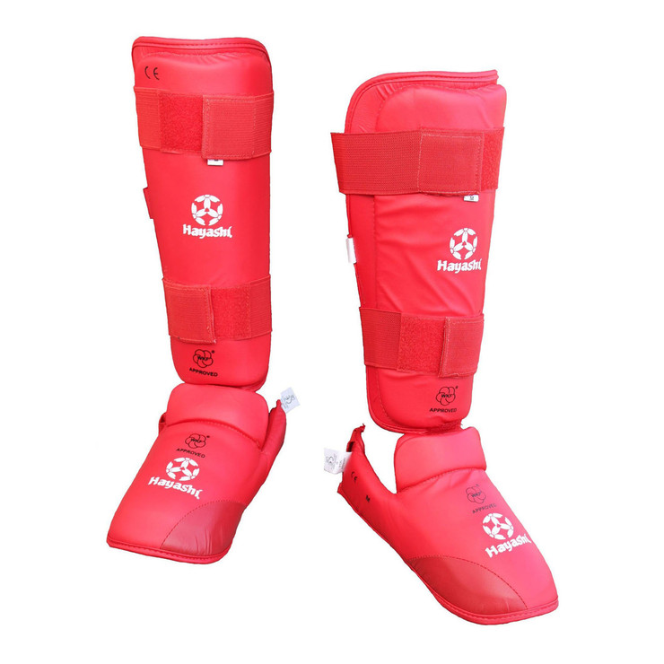 Hayashi WKF Approved Karate Shin/Instep Guard Red