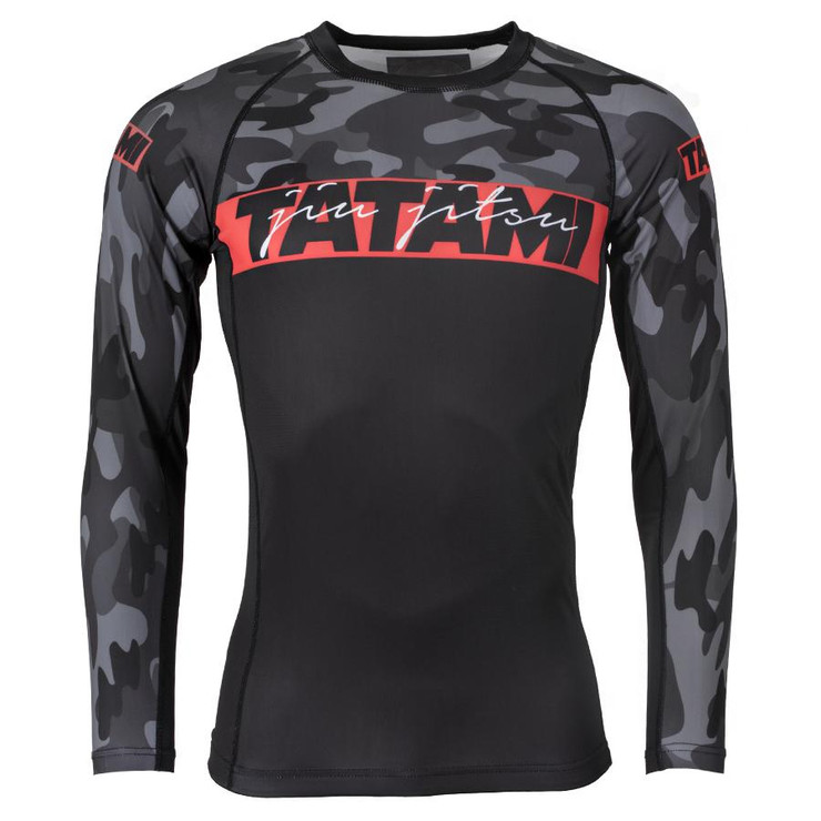 Tatami Fightwear Red Bar Camo Long Sleeve Rash Guard