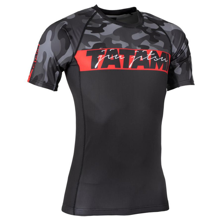Tatami Fightwear Red Bar Camo Short Sleeve Rash Guard