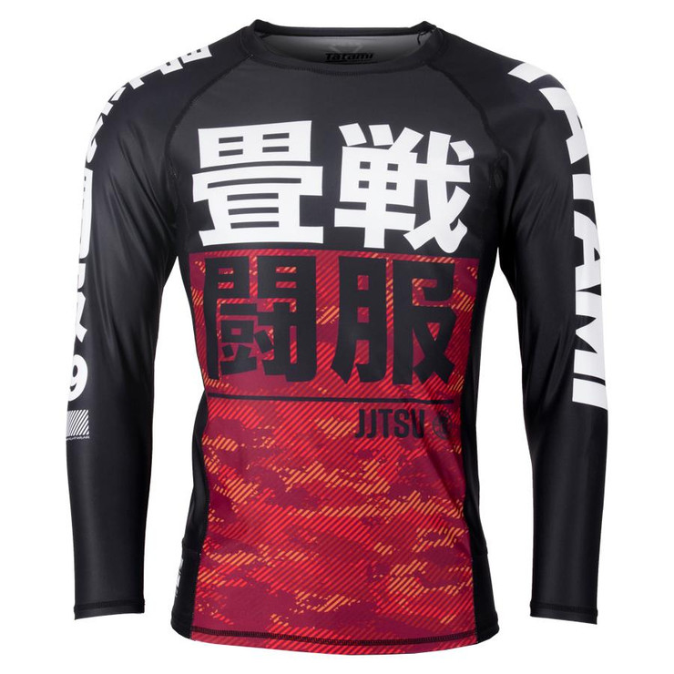Tatami Fightwear Essential Camo Long Sleeve Rash Guard Black/Red